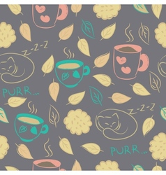 Seamless with cups cookies sleeping cat vector