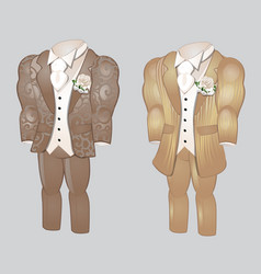 Set animated mens clothing groom suit vector