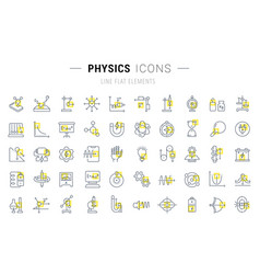 set line icons physics vector image