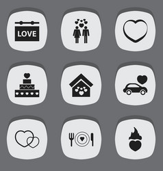 set of 9 editable heart icons includes symbols vector image