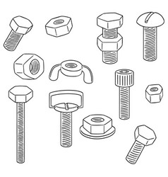 Set of bolt and nut vector