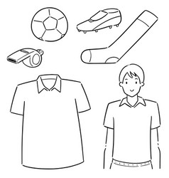 set soccer player and soccer equipment vector image
