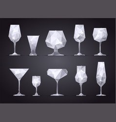 set triangle alcoholic glasses vector image