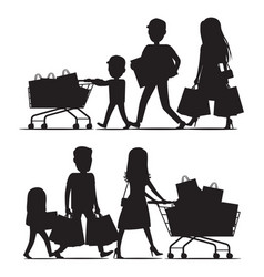 Shopping family silhouettes with packs on white vector