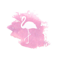 Silhouette of flamingo on pink watercolor spot vector