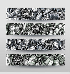 Sports hand drawn doodle banners design vector