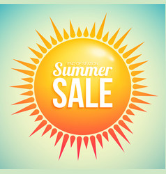 summer sale with hot abstract sun with rays vector image