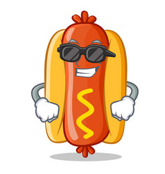 Super cool hot dog cartoon character vector