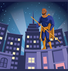 Superhero watching over building city night view vector