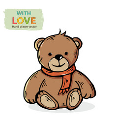 teddy bear with red scarf isolated vector image