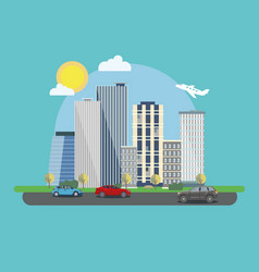 The landscape of the modern city with cars vector