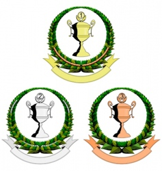 three trophy cup emblem vector image