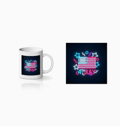 Usa independence day glowing neon sign with usa vector