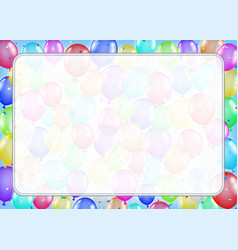 white border text box with colorful balloons vector image