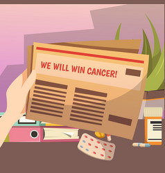 winning against cancer orthogonal composition vector image