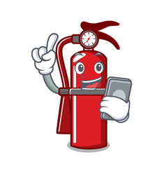 With phone fire extinguisher character cartoon vector