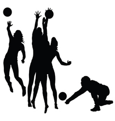 woman play volleyball silhouette vector image