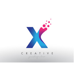 X letter design with creative dots bubble circles vector