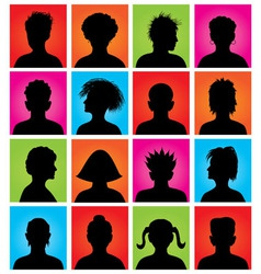16 anonymous colorful avatars vector image vector image