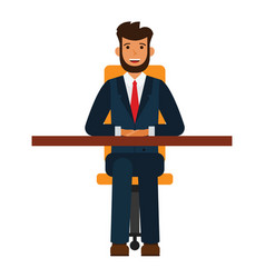 businessman sitting on chair cartoon flat vector image vector image