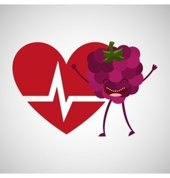 cartoon heart rate tasty fruit grape vector image