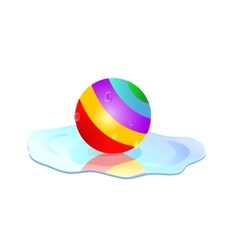 colorful ball in puddle vector image vector image