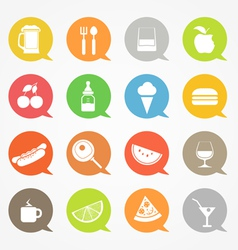 Food web icons set in color speech clouds vector image