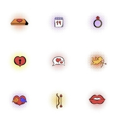 Holiday of all lovers icons set pop-art style vector