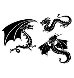 silhouettes of three dragons vector image vector image