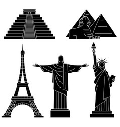 world landmarks eiffel tower statue of liberty vector image
