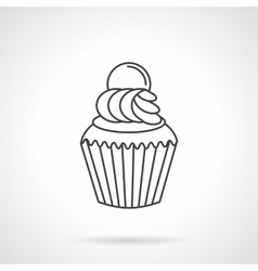 Cream cupcake flat line icon vector image vector image