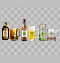 Realistic beer bottle and glass vector