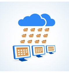 copmutre desktop pc folder clouds icon vector image