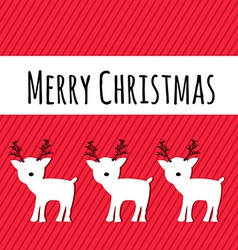 Merry Christmas Card with Reindeers Holiday vector image vector image