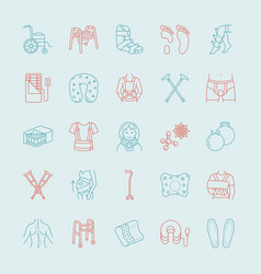 orthopedic trauma rehabilitation line icons vector image vector image