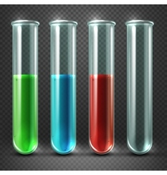 test tubes filled with liquids of different vector image