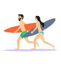 two male and female surfer running man and woman vector image vector image