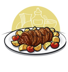 beef roulade vector image