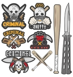 Collection of gang and criminal badges vector image
