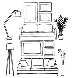 couch and blank picture frames mockup vector image