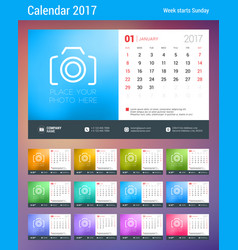 Desk calendar planner template for 2017 year week vector