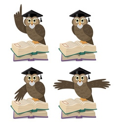 owl with books vector image