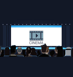 people sitting in cinema looking at empty screen vector image