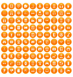 100 adjustment icons set orange vector