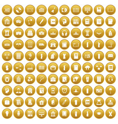100 library icons set gold vector