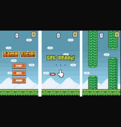 8bit platformer pixel art mobile game assets vector image