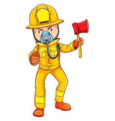 A drawing of a firefighter vector image