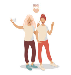 a group two young happy girls taking selfie vector image