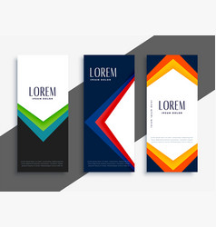 abstract geometric colorful banners set vector image
