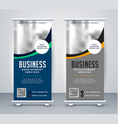 Abstract wavy business standee rollup banner vector